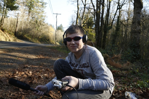 Our lovely assistant Cooper here recording some field audio!